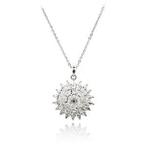 Sparkling sunflower crystal silver necklace